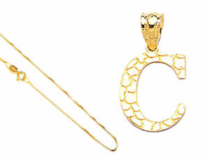10k-Solid-Gold-Fantastic-Alphabet-Letter-A-to-Z-Charm-Pendant-18-034-Gold-Box-Chain