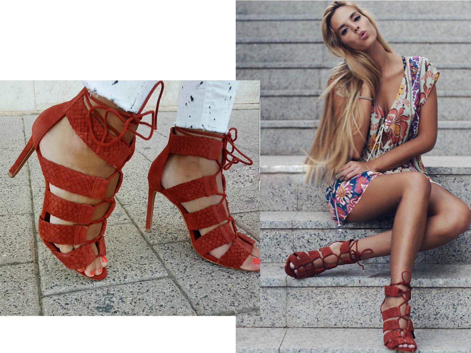 Zara Ladrillo De Cuero Trenzado Tacón Alto Sandalias Zapatos