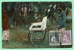 PORTUGUESE-CONGO-PPC-CHIMPANZEE-in-SEDAN-CHAIR-2-CERES-stamps-pmk-CABINDA-1918
