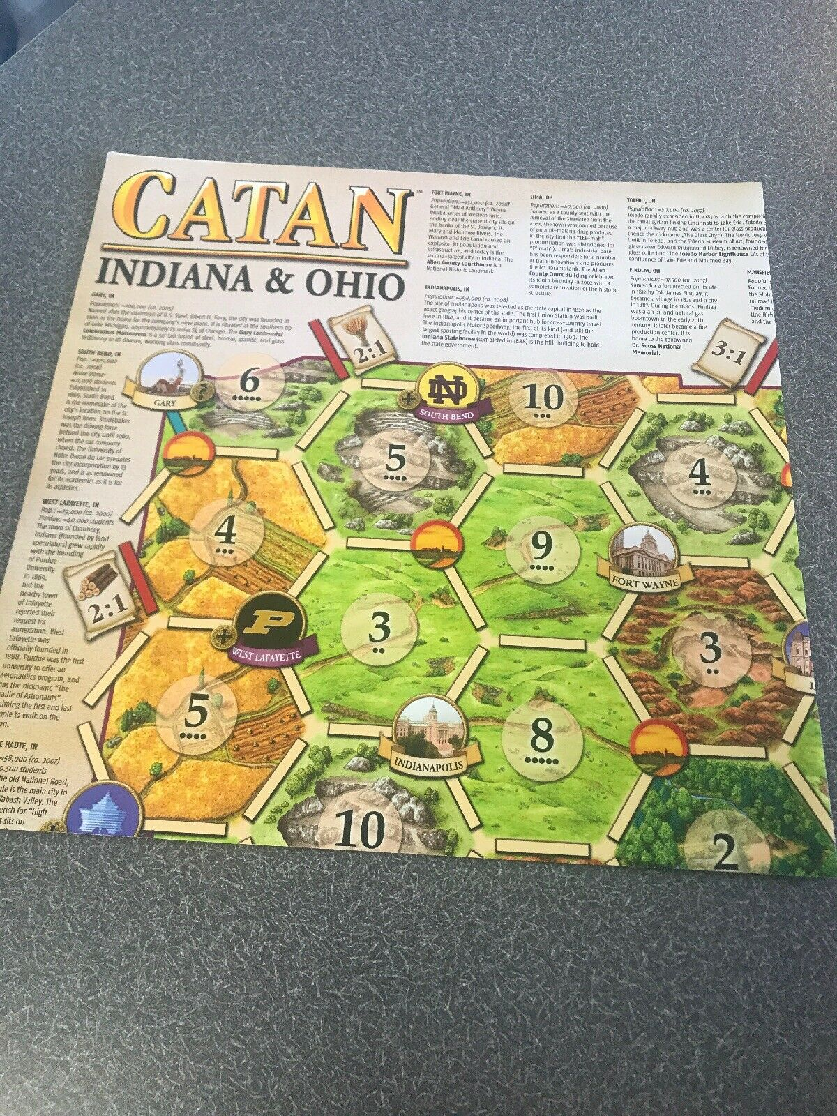 Catan Geographies  Indiana & Ohio Promo Map Game