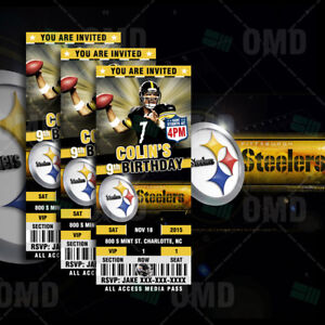 Pittsburgh steelers ticket style football sports invitations ebay image is loading pittsburgh steelers ticket style football sports invitations filmwisefo