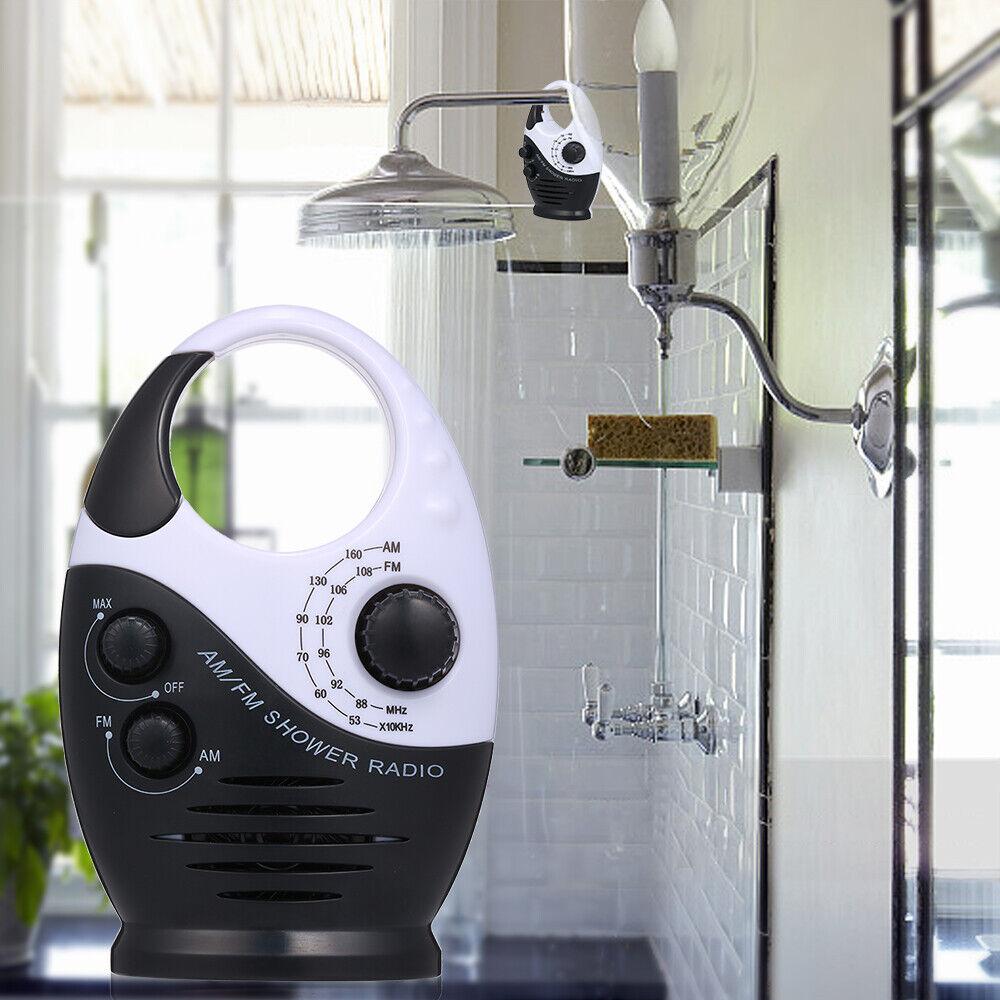 Radio impermeable para cuarto de bano Radio de musica colgando Blanco y Negro Sayin Mini Radio de ducha AM // FM Radio