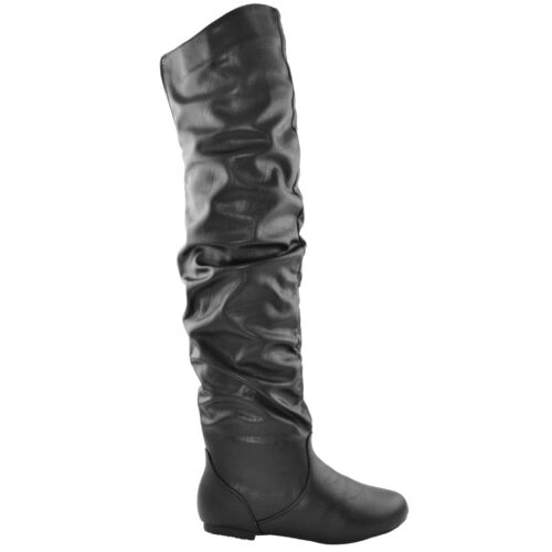 Womens Knee High Boots Elastic Accent Easy Slip On Ruched Calf Flat Shoes
