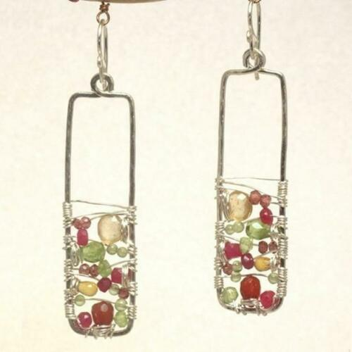 Details about  /Hammered Bohemian Long Rectangle Drop Earrings w// Citrine Peridot /& Pink Ruby