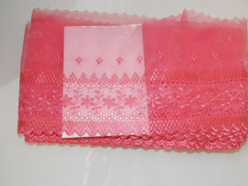 14.5cm wide hot coral embroidered tuile lace bridal wedding dress trim net