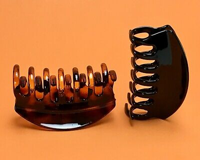 BLACK//Tortoise Brown Medium Hair Jaw Clip Claw Clamp 3 1//2 inches 2 Pack