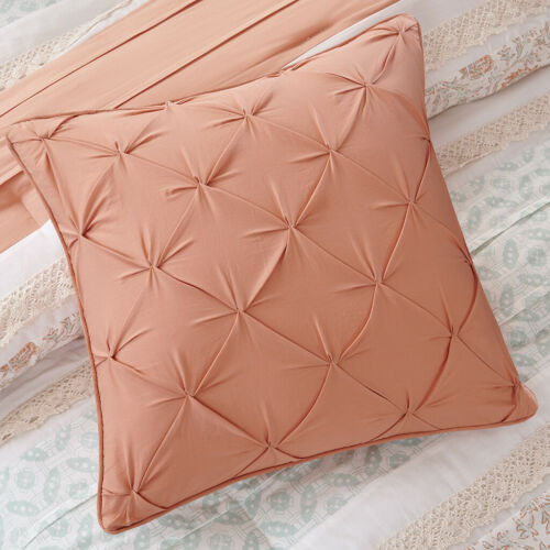BEAUTIFUL COTTAGE IVORY BLUE CORAL PINK COUNTRY SHABBY LACE RUFFLE COMFORTER SET