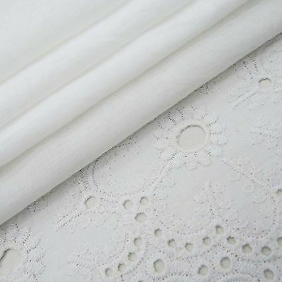 "42"" Wide Designer White Cutwork Embroidered Cotton Sewing Fabrics By The Metre"