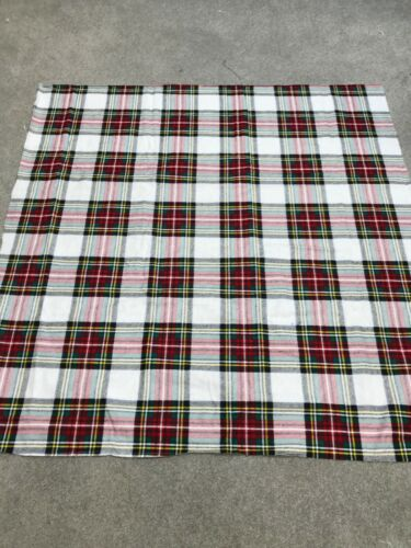 White Green Red tartan check 100/% brushed cotton crafts remnant 95x95cm