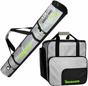 BRUBAKER-Ski-Bag-Combo-Tec-Pro-Boot-Bag-and-Ski-Bag-Silver-Green
