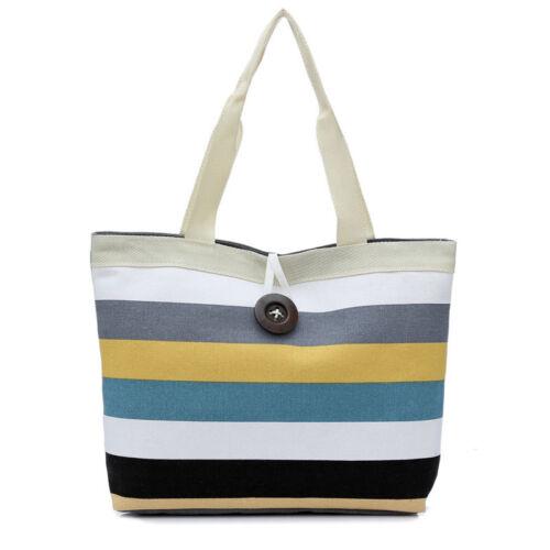 Fashion Women/'s Shoulder Bag Canvas Stripe Shopping Handbag Tote Purse Messenger