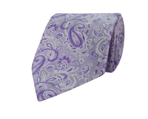 Mens Lilac Purple White Tie /& Handkerchief Silk Floral Pocket Square Hanky 130