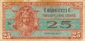 US / MPC  25  Cents  ND. 1954  M31  Series  521  Plate 36  Circulated Banknote
