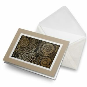 Greetings-Card-Biege-Fractal-Gold-Mandala-Pattern-15540