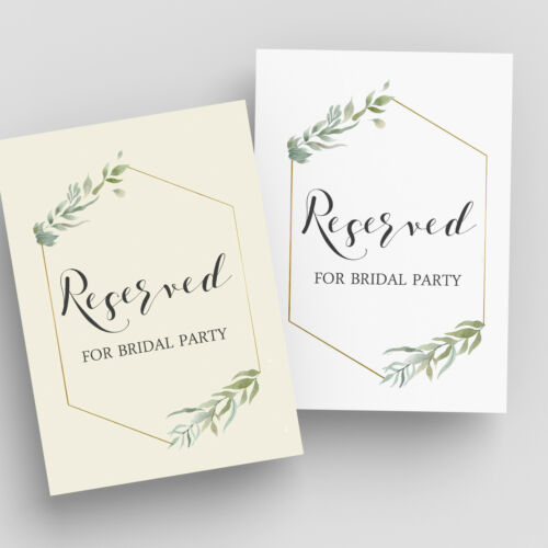 Reception Signs Wedding Table Signage Reserved for Bride/'s Maids
