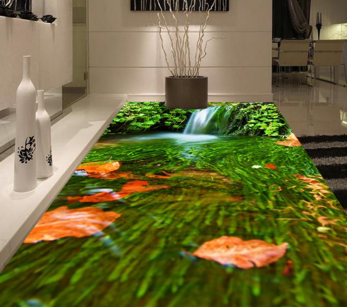 3D Leaves Shrubs River 8 Floor WallPaper Murals Wall Print Decal AJ WALLPAPER US