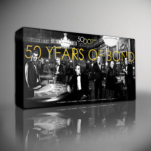 50-YEARS-OF-JAMES-BOND-007-GICLEE-CANVAS-ART-Choose-your-size