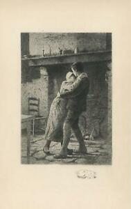 ANTIQUE ROMANCE HEARTH FIREPLACE CAT PRIMITIVE HOUSE REMARQUE ETCHING ART PRINT