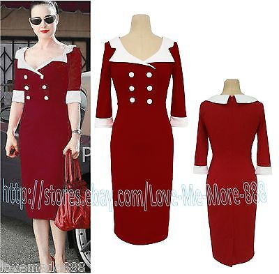 Vintage Rockabilly Pinup Bodycon Fitted Party Midi Pencil Wiggle Dress Plus size