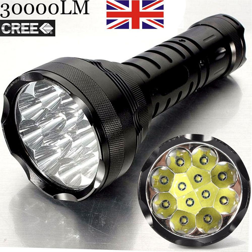30000lm x 12 crée T6 LED Imperméable Lampe torche 5 mode Super Royaume-Uni