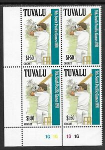 TUVALU-1991-9th-SOUTH-PACIFIC-GAMES-Single-CRICKET-Left-Corner-Plate-Block-4-MNH