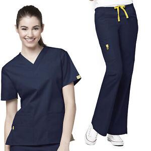 Origins-Women-039-s-6016-5-Pocket-V-Neck-Scrub-Top-5026-Flare-Leg-Scrub-Pant-Set