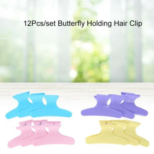 12Pcs Hair Clip Hairdresser Hairdressing Butterfly Hair Claw Plastic Clamp Grip