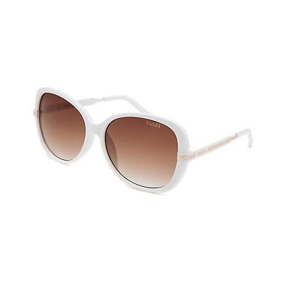 GUESS Women's Full Rim Round Chainlink Accent Sunglasses - White $78 NEW