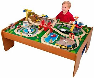 Image is loading Toy-Train-Table-Set-Wood-Kids-Storage-Bins-  sc 1 st  eBay & Toy Train Table Set Wood Kids Storage Bins 100 Pieces Colorful ...