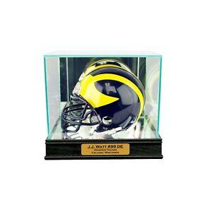 80f860e8 Details about New J.J. Watt Houston Texans Glass & Mirror Mini Helmet  Display Case