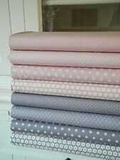8x Stoff Nude Taupe Rosa Stoffpaket Stoffe Patchwork Sterne Shabby chic Landhaus