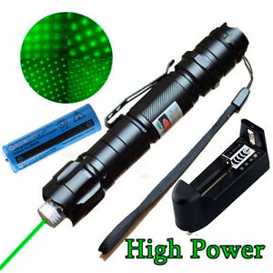 Military 10 Miles LED 532nm Green Laser Pointer Pen Visible Beam Lazer +Star Cap