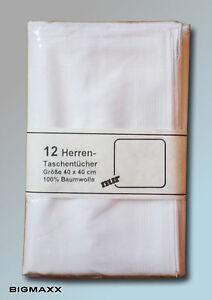 24-Pezzo-Uomo-Stofftaschentuch-Raso-Bianco-Puro-Fazzoletti-Cotone-Bianco