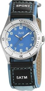 Just-Kinderuhr-Blau-Schwarz-Analog-Edelstahl-Kunst-Leder-Quarz-X48S0035BL