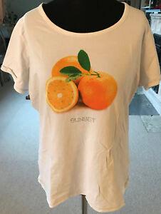 GINA-BENOTTI-zeitloses-weisses-Damen-T-Shirt-Groesse-48-50-XXL-Apfelsine-Orange
