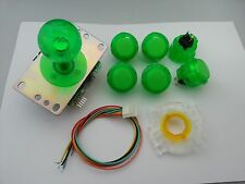 JAPAN Sanwa Clear Green Joystick GT-Y Wire Push-buttons x 6 Video Game Parts Set