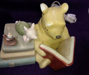 Vintage Winnie POOH Bear Charpente NIGHT LIGHT Ceramic Dresser Table LAMP