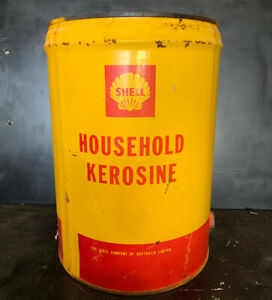 Shell-Household-Kerosine-5-Gallon-Vintage-Oil-Tin-Drum