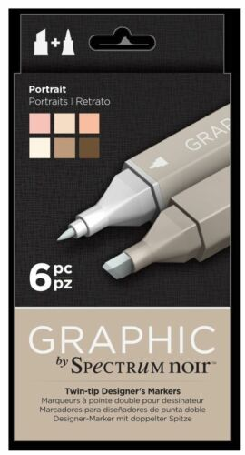 Portrait Art 6pk Spectrum Noir Craft Alcohol Marker Pen Graphic Nib Set