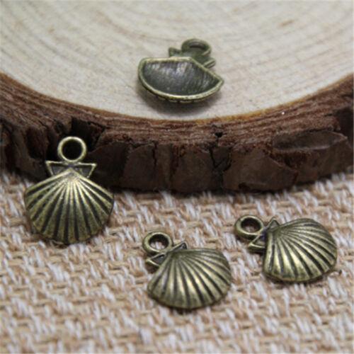 30pcs Shell Charms bronze tone Ocean Themed Shell pendants//charms 15x18mm
