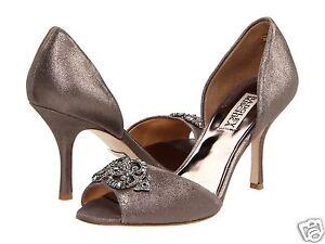 Badgley-Mischka-SALSA-metalllic-leather-D-039-orsay-heel-sandal-shoes-pewter-8-NEW