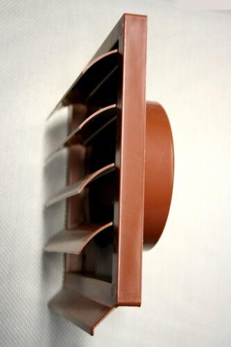 Lüftungsgitter Mauerlüfter 15x15cm Abluft Lüftungsklappe braun für 125er Rohr