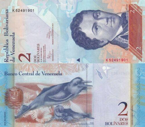 Venezuela 2 Bolívares Fuertes Dolphins//p88c UNC 2012