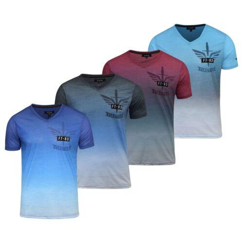 Para Hombre Firetrap dagaut Camiseta Impresión De Manga Corta Camiseta Top de cuello en pico