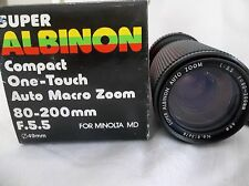 Super Albinon Compact Auto Zoom Lens f=80~200mm 1:5.5 Minolta MD Mount  NOS