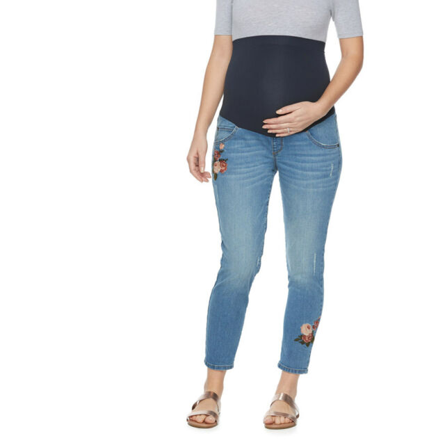NWT! A:Glow Maternity Full Panel Embroidered Jean Capris - Size 14