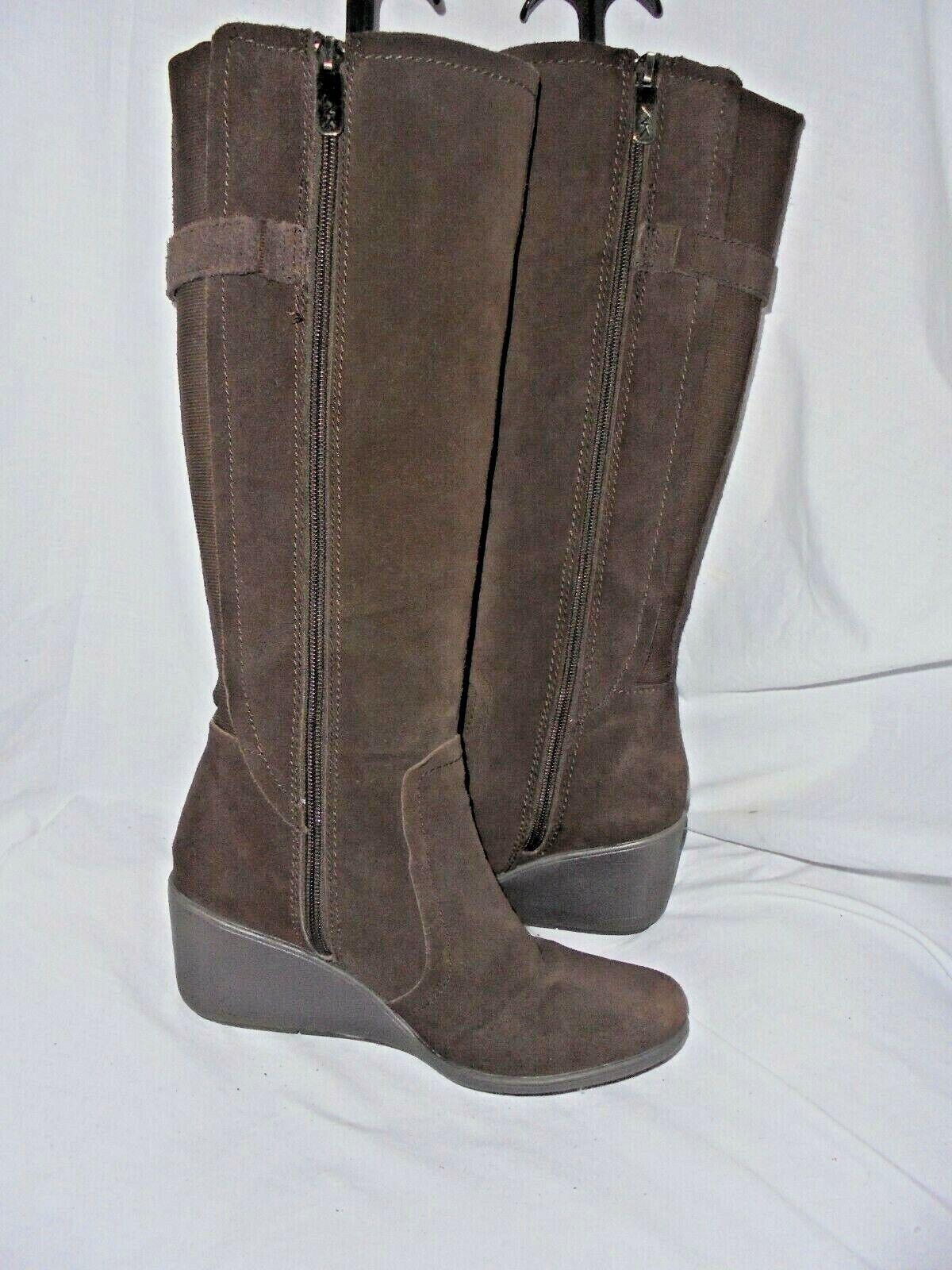 Anne Klein Femme en Cuir Marron Zip Knee High Boot taille UK 4.5 EU 37.5 US 7 très bon état