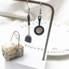 1Pair Creative Asymmetric Shovel Pan Fried Egg Enamel Earrings For Birthday Gift