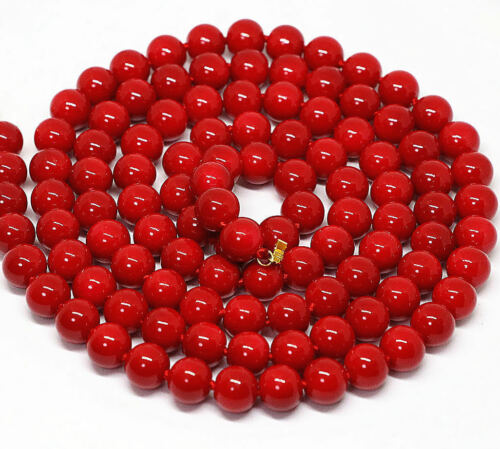 """New Long 24/""""-48/"""" 8mm Japan South Sea Red Coral Round Beads Necklace 14K AAA+"""