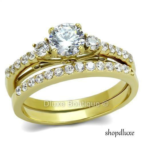 Beautiful Round Cut CZ 14k Gold Plated Wedding Ring Band Set Women's Size 5-10